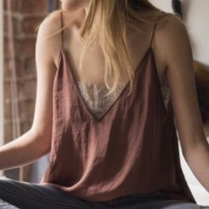 Flowy tank top with nude/gold lace bandeau
